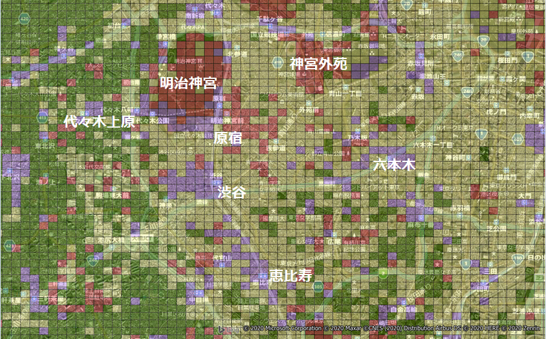 コロナ禍前の昼間夜間人口比較